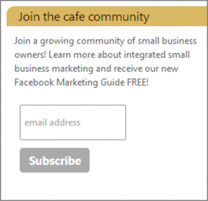 Email list building - join the cafe